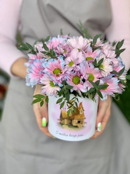 Коробочка с хризантемой Бабл Гам