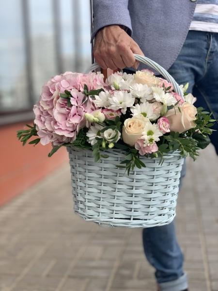 Корзина с гортензией, Розами и хризантемой