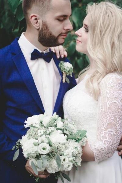 Свадебный букет бело-зеленый