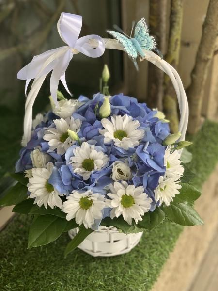Корзинка с гортензией, хризантемой и бабочкой