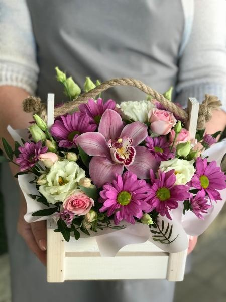 Деревянный ящик «розовый восторг»