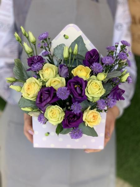 Букет- конверт из желтой Розы и эустомы