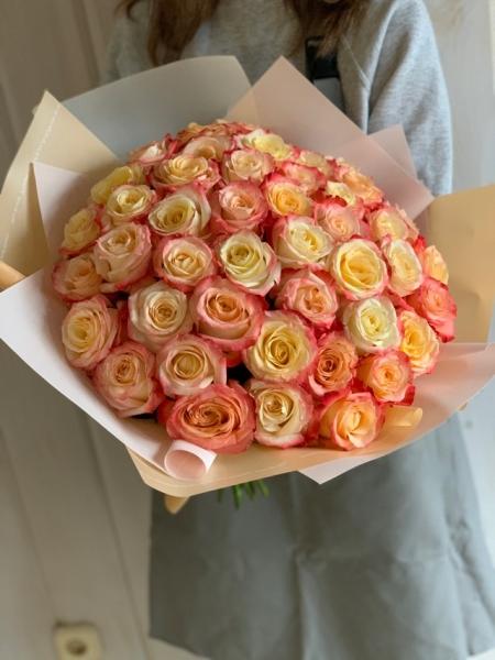 51 Роза кремово-красная